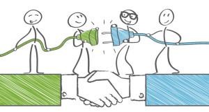 Partnerschaft; kooperation; Gespann; Teamwork; zusammenarbeit; zusammenschluss; gemeinsam; ziel; ziele; erfolg; erfolgreich; brücke; Leistung; Richtung; Entwicklung; vision; männchen; strichmännchen; Geschäft; miteinander; konzept; Firma; Fusion; kraft; bündeln; synergie; genossenschaft, Verbindung, Stecker, Vertrag, Vereinbarung