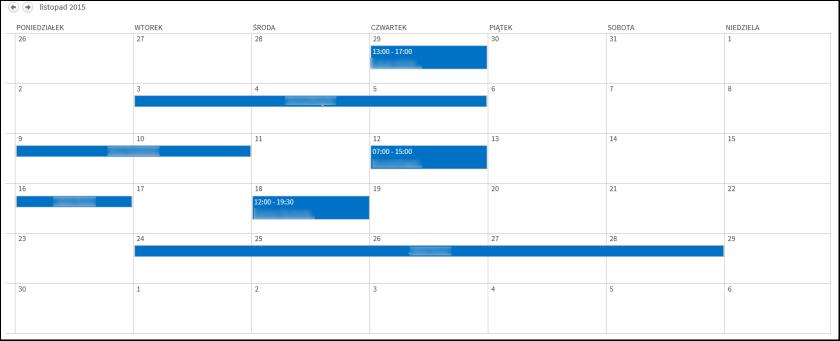Widok kalendarza SharePoint z jednym kolorem
