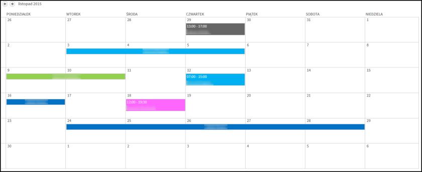 Widok wielokolorowego kalendarza SharePoint