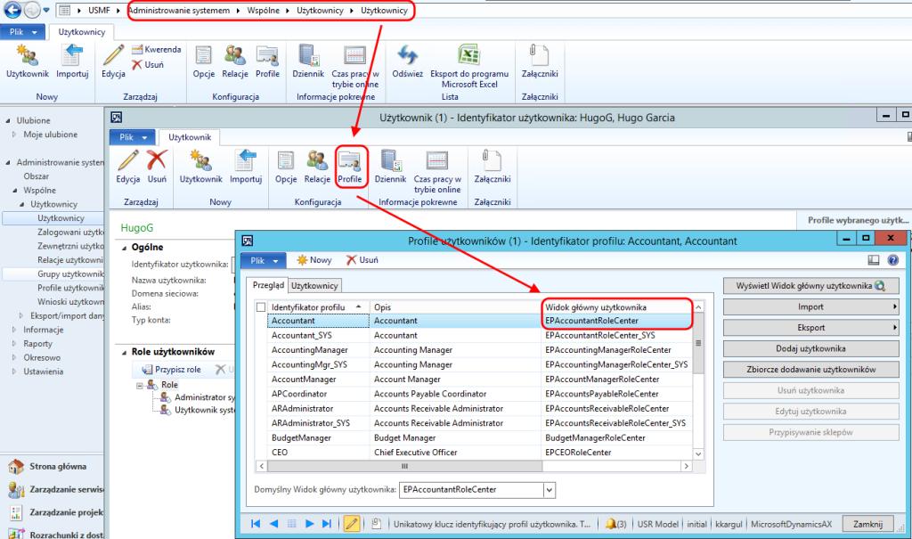 Ustawienia domyślnego widoku użytkownika w module Administracji Systemem Dynamics AX 2012