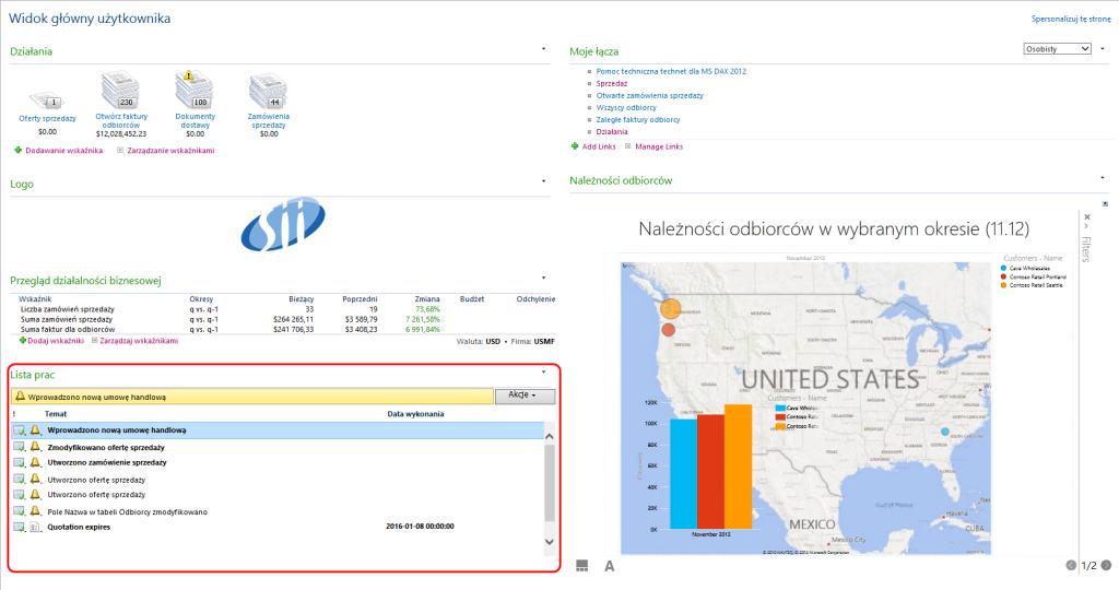 Widok główny użytkownika modułu sprzedaży Dynamics AX 2012 - Lista prac