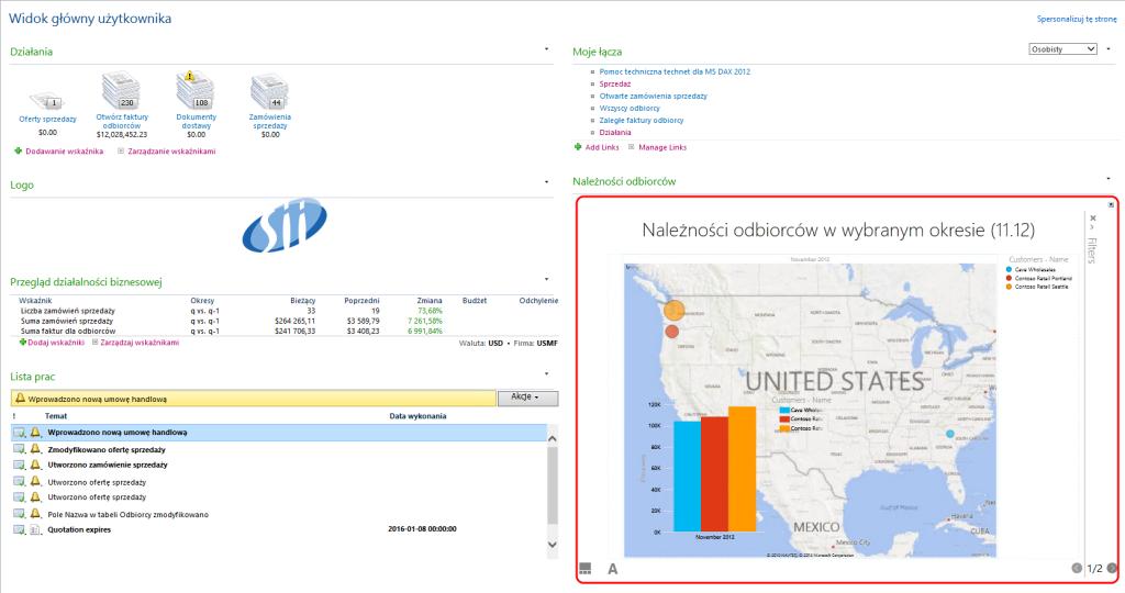 Widok główny użytkownika modułu sprzedaży Dynamics AX 2012 - Dodawanie plików