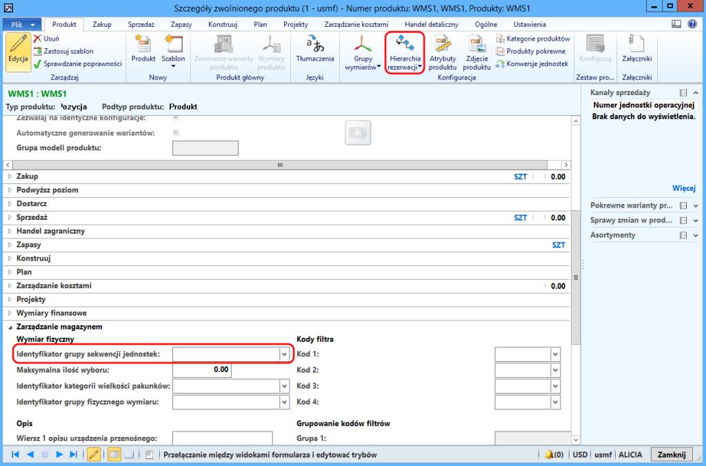 Kartoteka produktu, hierarchia rezerwacji i identyfikator grupy sekwencji jednostek MS Dynamics AX 2012 R3