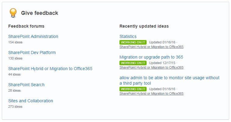 SharePoint UserVoice - widok for tematycznych