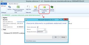 Tworzenie nowego dokumentu na podstawie wiadomości e-mail Dynamics AX 2012