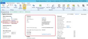Dokument stworzony na podstawie e-faktury z automatycznym wprowadzaniem danych Dynamics AX 2012