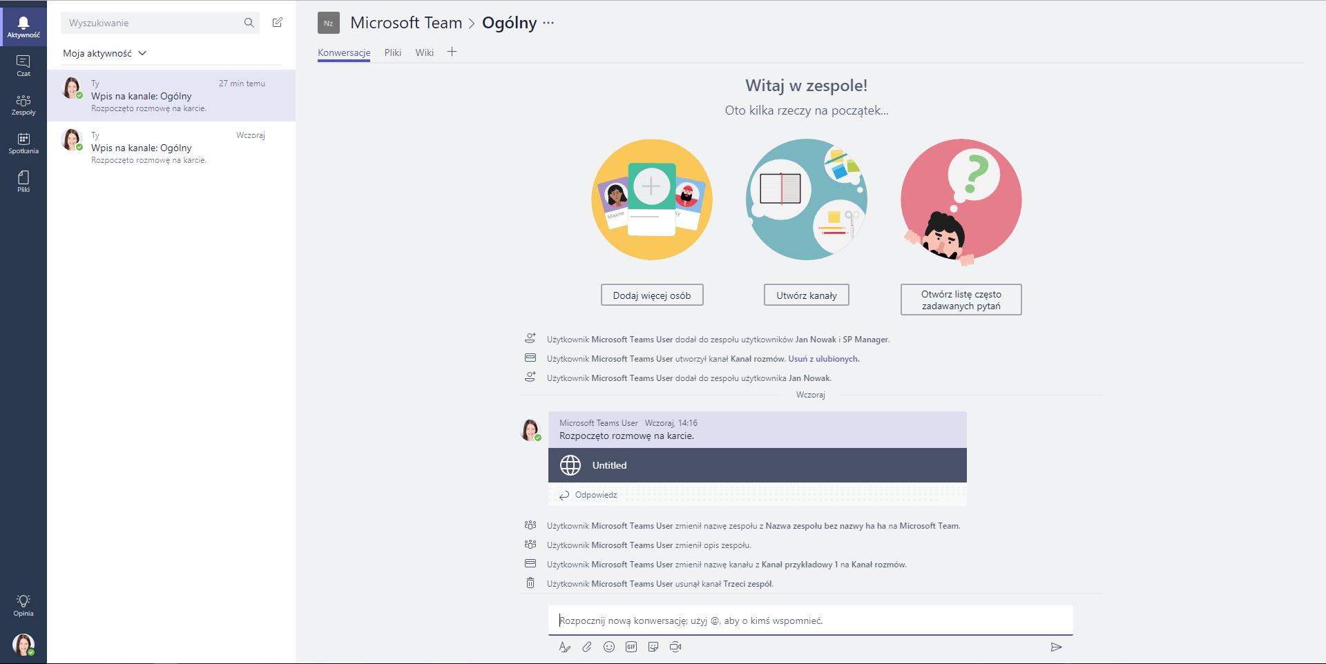 Panel boczny Microsoft Teams - Aktywność
