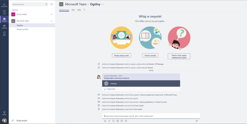 Ekran główny Microsoft Teams
