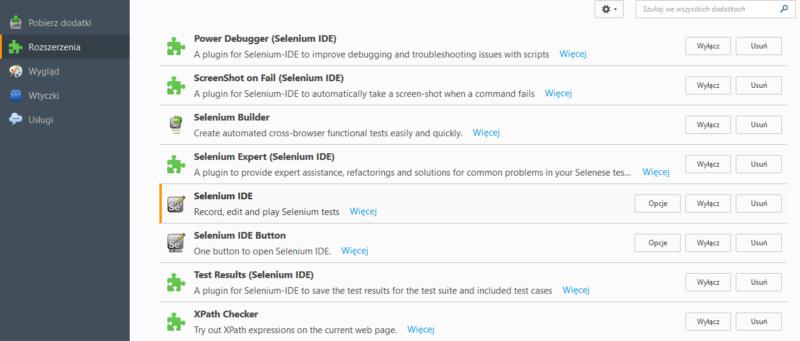 Rozszerzenia e1484757036560 - Selenium IDE, czyli jak zarobić więcej, robiąc mniej?