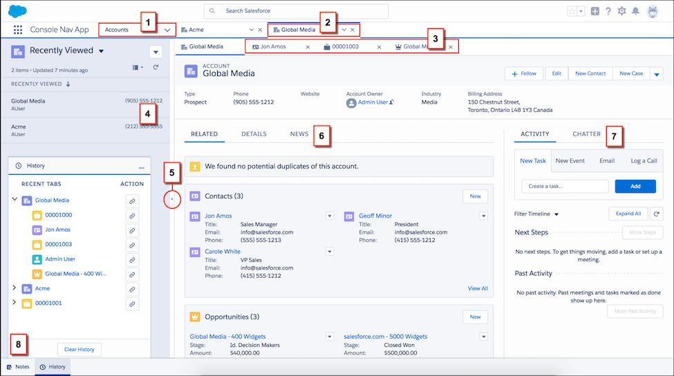 3 - Salesforce Console - aplikacja wspierająca zarządzanie relacjami z klientami