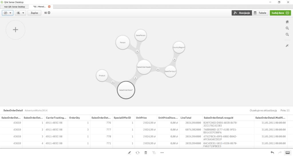 Menedżer danych - widok 'Asocjacje'
