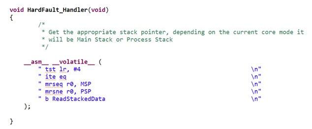 HardFault_Handler i przekazanie adresu stosu do funkcji