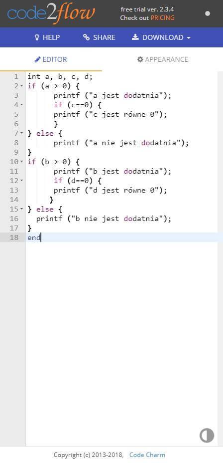 code2flow edytor Testing - Tworzenie schematów blokowych i pseudokodu wspomagane narzędziami