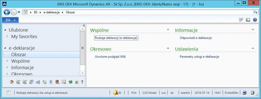 Dynamics365 1 - e-Deklaracje, e-Sprawozdania Finansowe w systemach Dynamics AX 2009, AX 2012, D365
