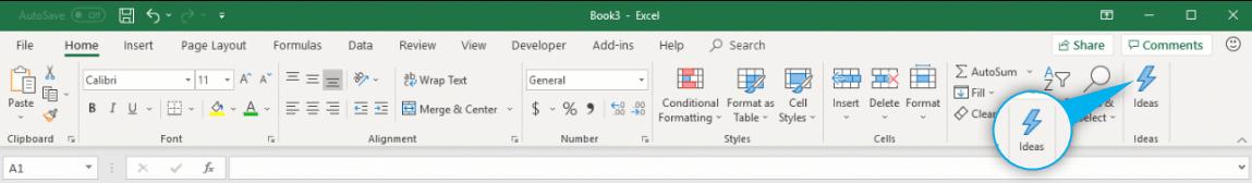 Ideas ikona - Microsoft Excel - nowe funkcje z zakresu AI