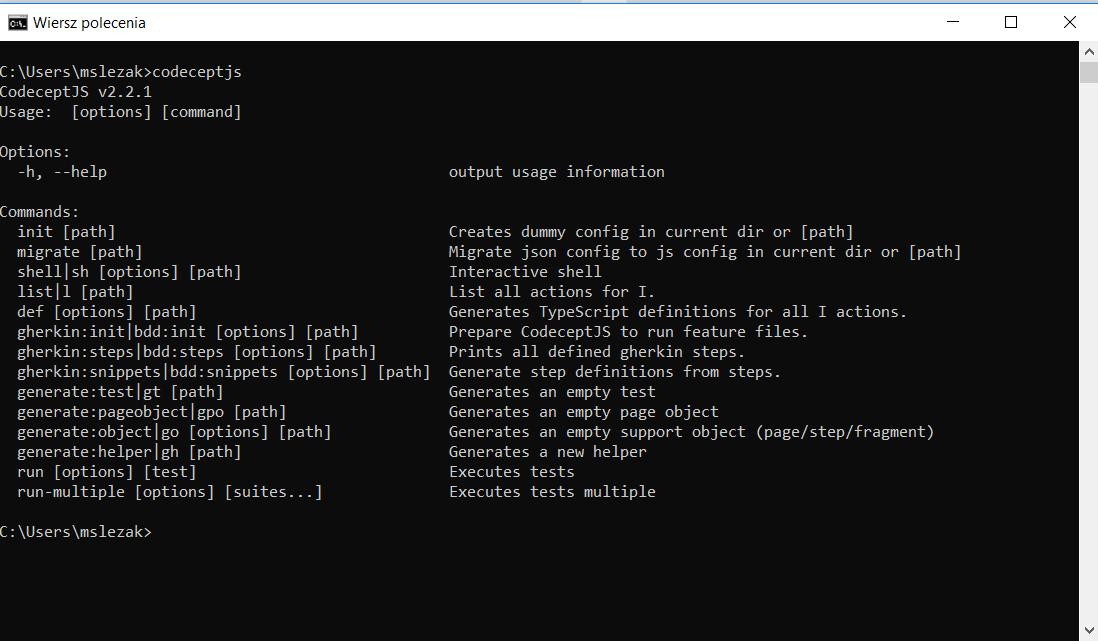 instaled codeceptjs - CodeceptJS - Przyjazna automatyzacja testów akceptacyjnych dla www!