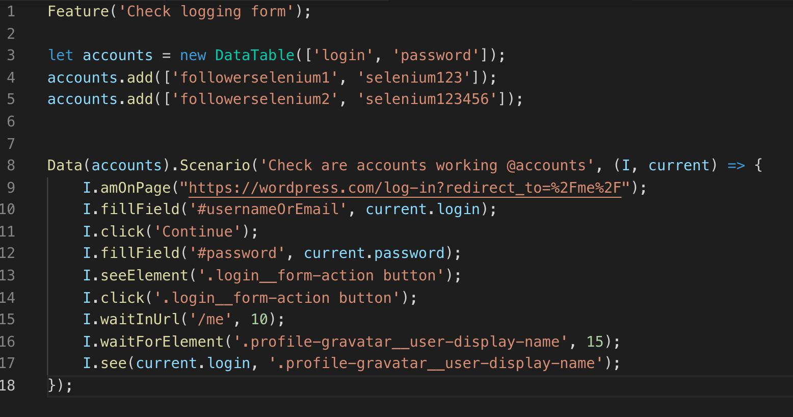 code codeceptjs - CodeceptJS – część 2 - uruchamianie współbieżne, page object pattern