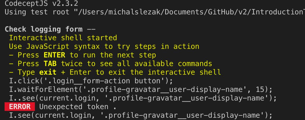 codeceptjs debugging - CodeceptJS – część 2 - uruchamianie współbieżne, page object pattern