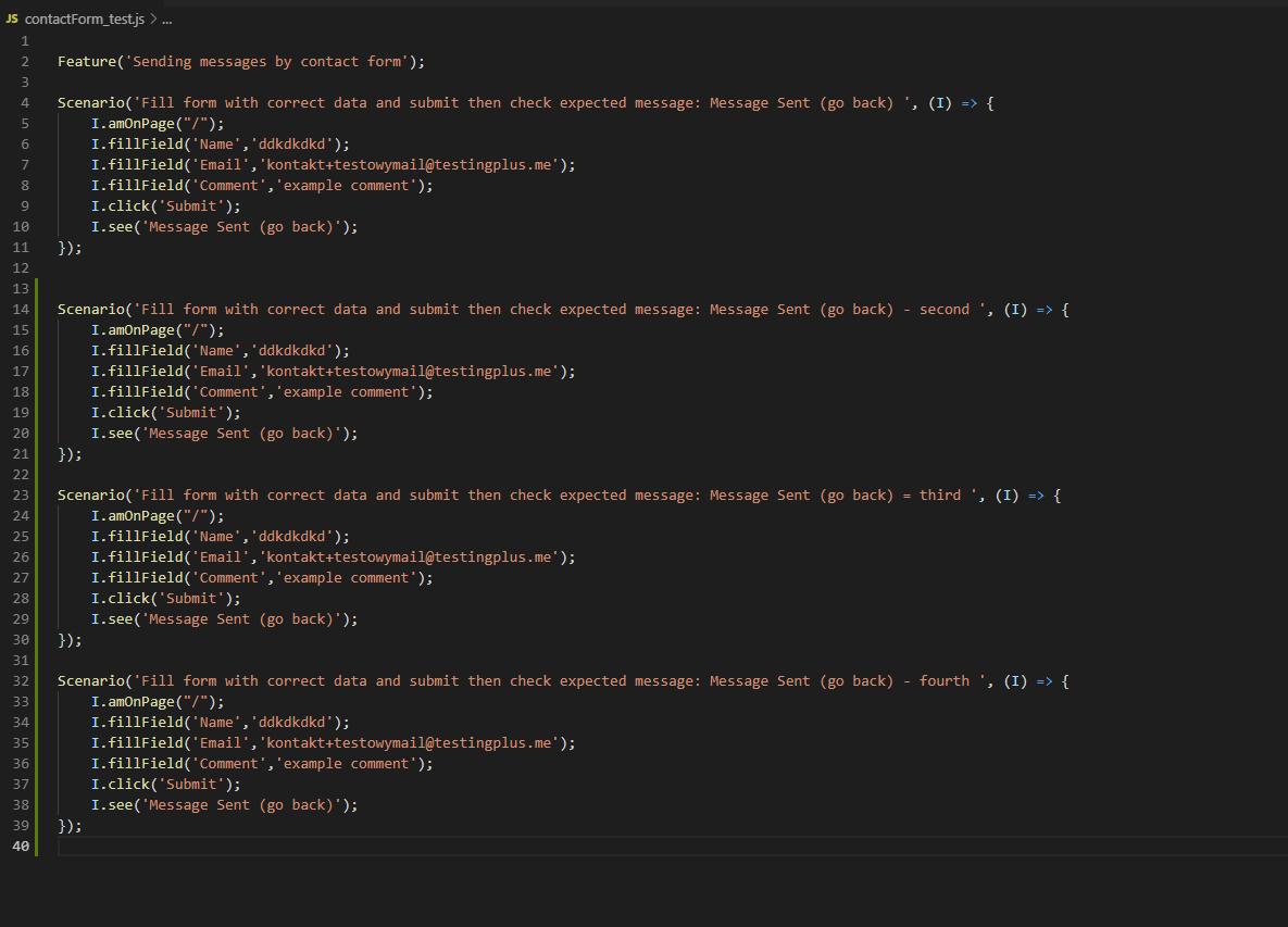 repeated tests - CodeceptJS – część 2 - uruchamianie współbieżne, page object pattern