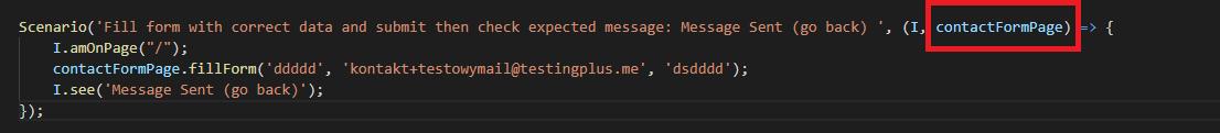 scenario with page as parameter - CodeceptJS – część 2 - uruchamianie współbieżne, page object pattern