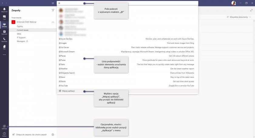 6 MS Teams Command Box aplikacje lista e1588145794563 - Microsoft Teams - zwiększ produktywność za pomocą pola poleceń
