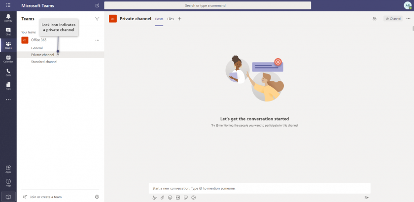 private channel e1588077805986 - Microsoft Teams - create and configure your first team