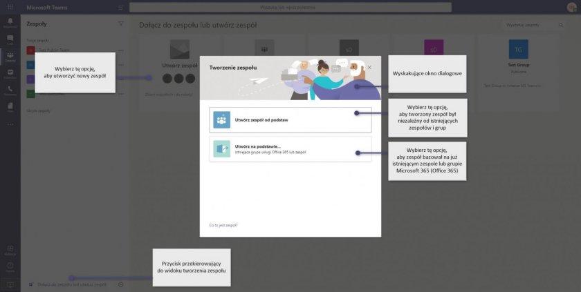 1 MS Teams connections tworzenie zespolu e1593069794446 - Microsoft Teams - osobiste centrum zarządzania na platformie Microsoft 365