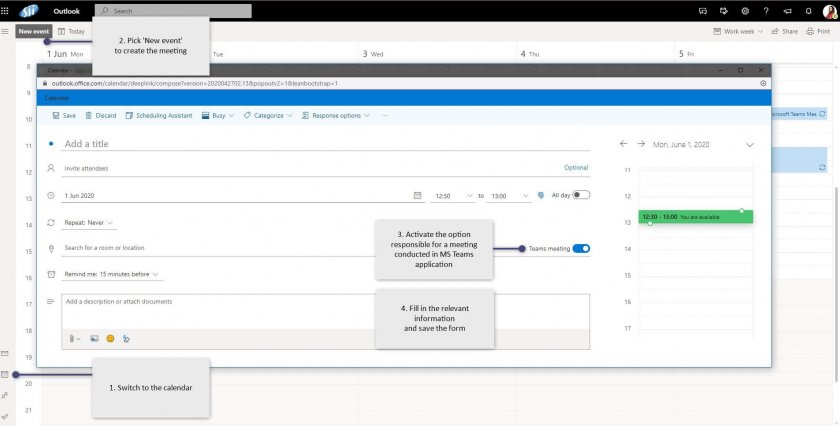 10 MS Teams connections outlook browser e1593072687470 - How to use MS Teams as a comprehensive hub for teamwork?