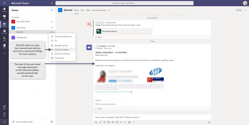 11 MS Teams connections outlook channel email e1593076102728 - How to use MS Teams as a comprehensive hub for teamwork?