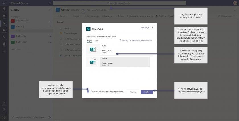 6 MS Teams connections dodaj zakladke sharepoint e1593072070899 - Microsoft Teams - osobiste centrum zarządzania na platformie Microsoft 365