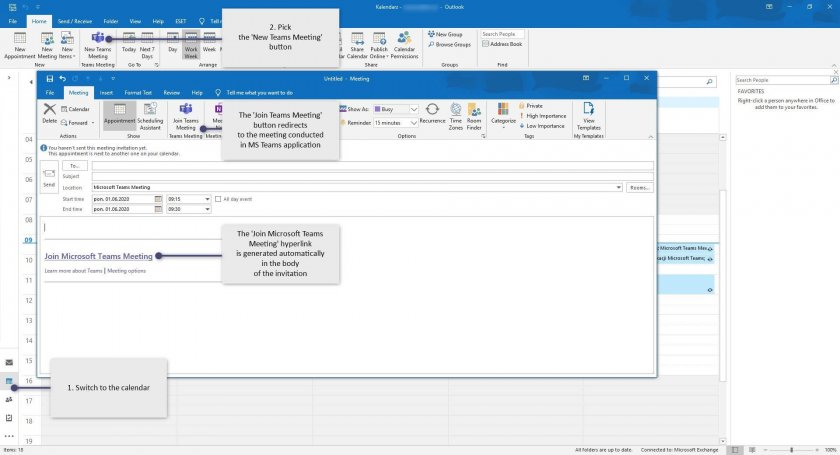 9 MS Teams connections outlook desktop e1593072599422 - How to use MS Teams as a comprehensive hub for teamwork?
