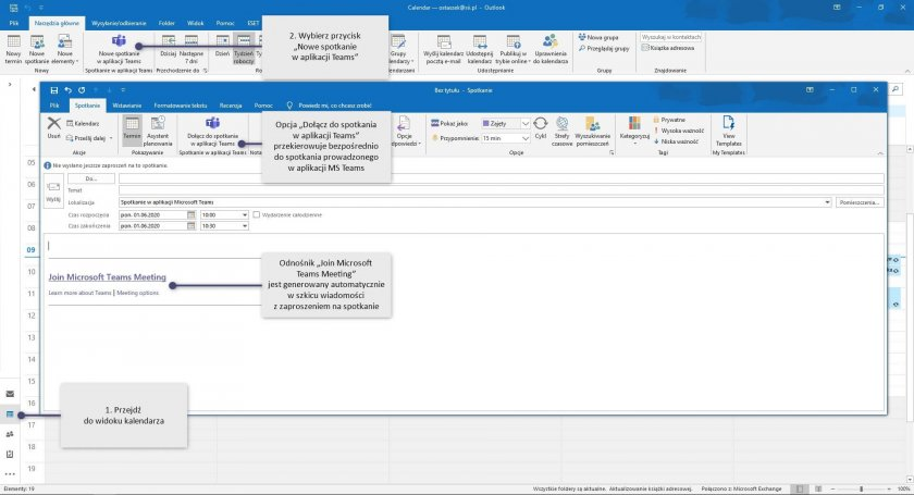 9 MS Teams connections outlook desktop aplikacja e1593072609639 - Microsoft Teams - osobiste centrum zarządzania na platformie Microsoft 365