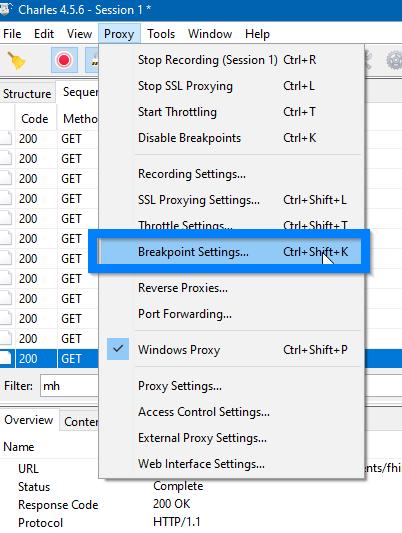 B Settings - Charles - pomocne narzędzie w testowaniu REST API