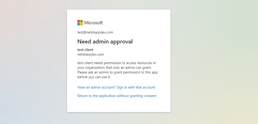 MS Login Need Approval Software Development e1596136877626 - OAuth 2.0 On Behalf flow in Azure Active Directory and .NET Core