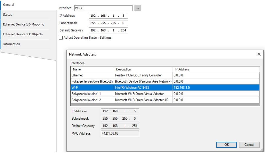 CoDeSys network config - Dane przemysłowe w Internecie – implementacja REST API z wykorzystaniem sieci polowej MODBUS