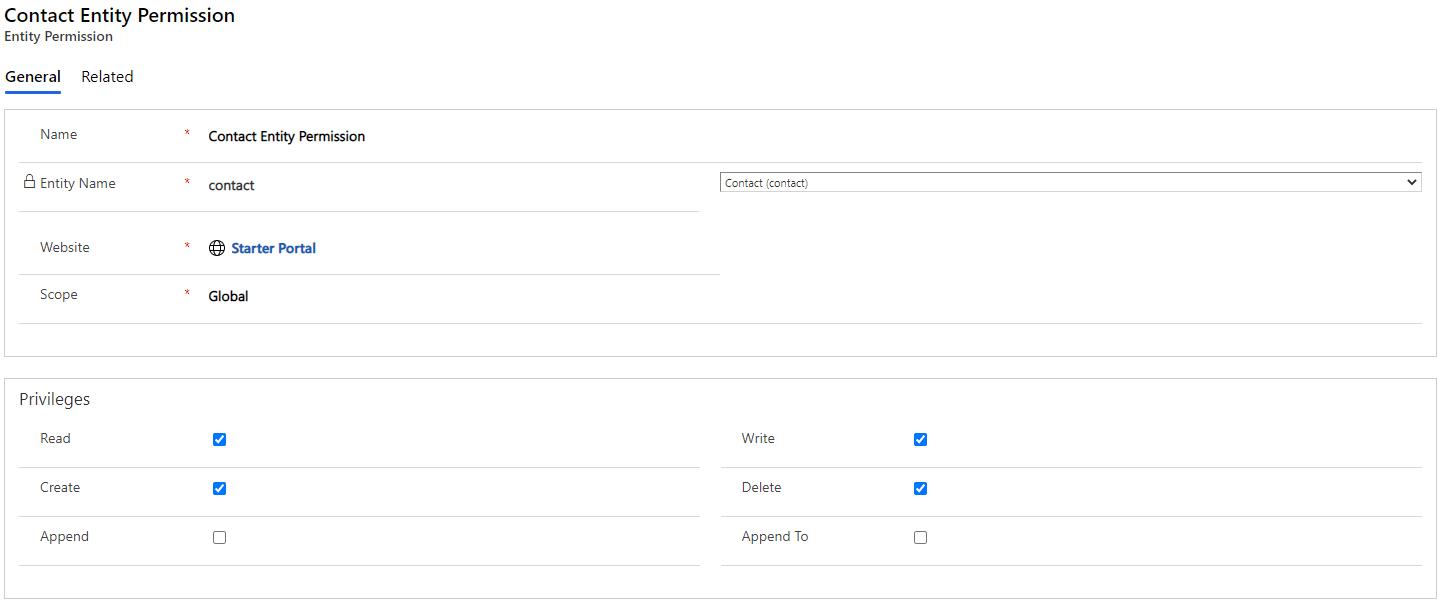 contact entity permission - Introduction to Power Portal Web API