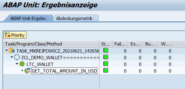 Wynik testu - ABAP Unit i Test-driven Development