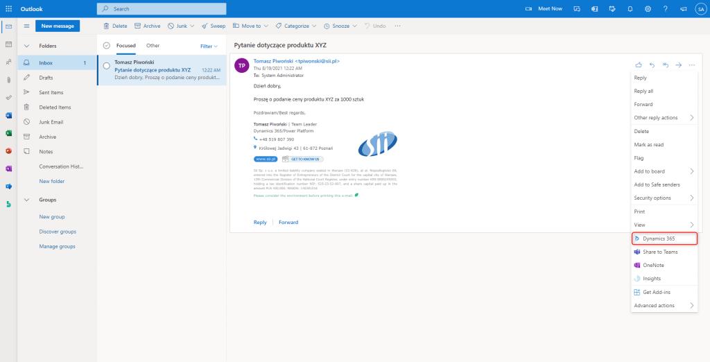 Ryc. 1 Outlook – widok wiadomości e-mail od potencjalnego klienta
