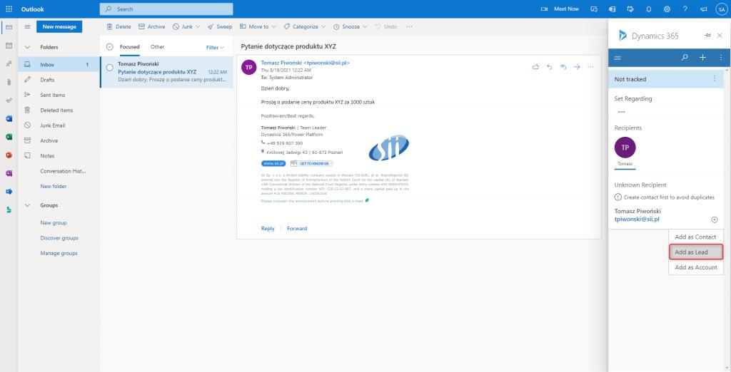 Integracja Outlooka z Dynamics 365 - dodaj lead