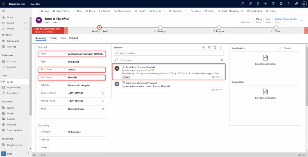 Integracja Outlooka z Dynamics 365 - Ryc. 4 Dynamics 365 - widok rekordu potencjalnego klienta (Lead)