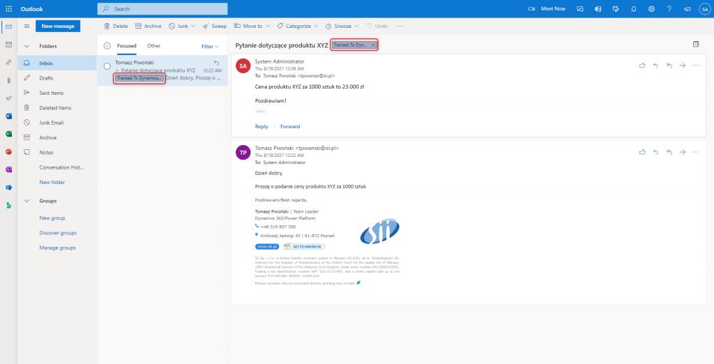 Integracja Outlooka z Dynamics 365 - widok śledzonej wiadomości e-mail